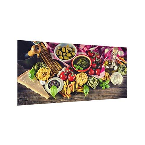 Bilderwelten Panel antisalpicaduras de Cristal - Pasta - Horizontal 1:2, Panel antisalpicaduras Panel de Vidrio para Cocina Panel Protector contra Salpicaduras, Tamaño: 40cm x 80cm