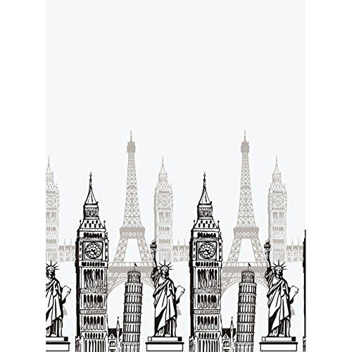 Euroshowers Design douchegordijn Monuments, 180 x 200 cm, 100% polyester