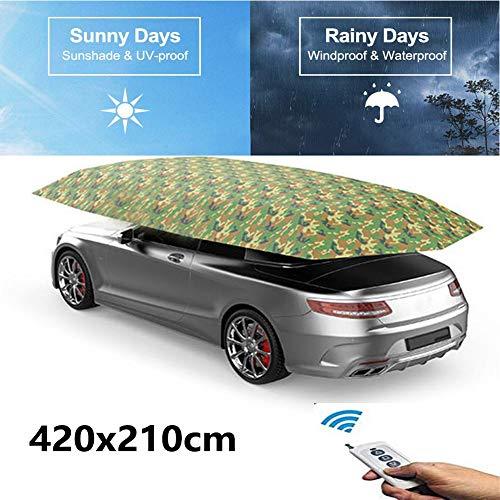 Mago Auto-parasol en regenbescherming voor in de auto, automatische bediening via afstandsbediening, radio, elektrisch, automatisch dekzeil, bescherming tegen vuil, stof, eenvoudig aan te brengen, camouflage