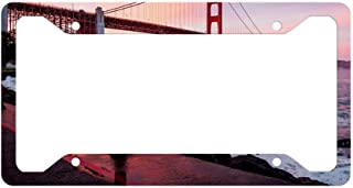 SAWADK Golden Gate Bridge Sunset Aluminum Motorcycle Car License Plate Frame Hunting Fishing Front License Plate Made in USA