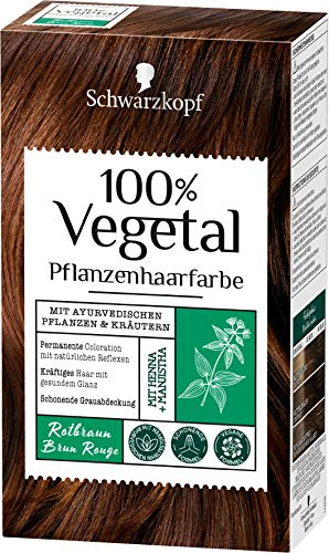 SCHWARZKOPF 100% VEGETAL Coloration Rotbraun Stufe 3, 3er Pack (3 x 80 ml)