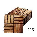 Hengda 1m² Holzfliesen Mosaik Akazienholz Fliese 11 Stück 30x30 cm Balkonfliesen Gartenfliesen Terrassenfliesen für Garten Terrasse Balkon