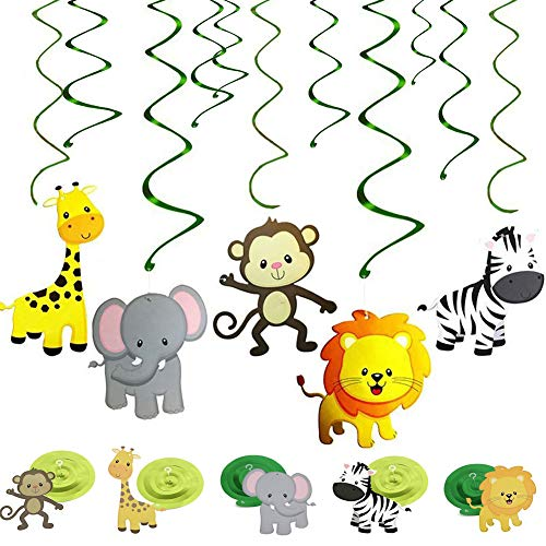 REYOK Dschungel Tier Party Hängedekoration Folie Deckenhänger Spiral Girlanden,30 Stück Wirbel Jungle Deko Set für Kindergeburtstag Party Deko Junge und Mädchen Geburtstags Swirl Decorations