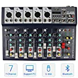 Professional Audio Mixer, ALPOWL Sound Board Console System, Interface 7 Channel Digital USB Bluetooth MP3 Computer Input 48V Phantom Power Stereo DJ Studio Streaming for DJ Wedding Party KTV