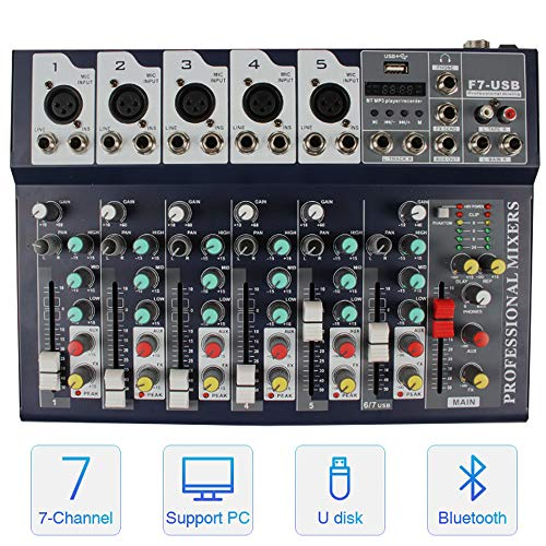 Professional Wireless DJ Audio Mixer ALPOWL Sound Board Console Desk System, 7-Channel Digital Mixer for PC MP3 USB Bluetooth Input 48V Phantom Power Stereo DJ Studio Ideal for Clubs, Bars, Parties. Buy it now for 59.99