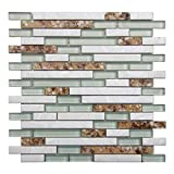 Art3d 5-Pieces Decorative Glass Tile Geniune Shell and Conch Mosaic Tile for Kitchen Backsplashes