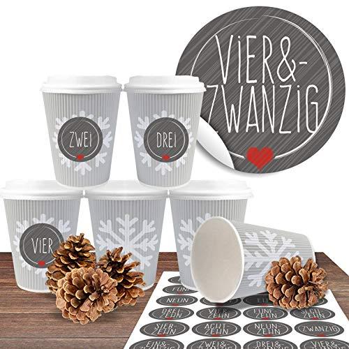 """Adventskalender zum befüllen und basteln mit 24 Coffee-to-Go-Bechern (100% biologisch abbaubar) """"Schneeflocke geriffelt"""" inkl. 24 Zahlenaufkleber """"Schick und Grau"""""""