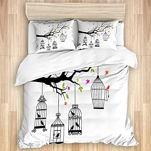 VINISATH 3 Pieces Duvet Cover Set Flying Birds Floral Colorful Tree Branch and Open Cages Freedom Theme Spring Liberty Printed Bedding Duvet Cover with Zipper Closure Soft Quilt Cover Single Size