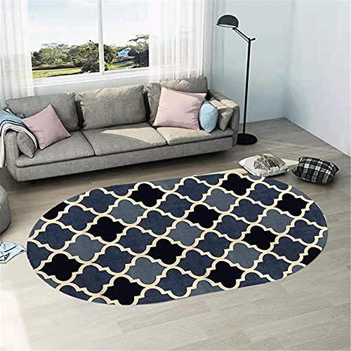 WCCCW La Forma Oval geométrica Simple del patrón del Color del Llano Costura Durable Mesa de café Estudio de decoración de la Oficina de la alfombra-50x80cm Suave Moderna Alfombra Antideslizante Alfo
