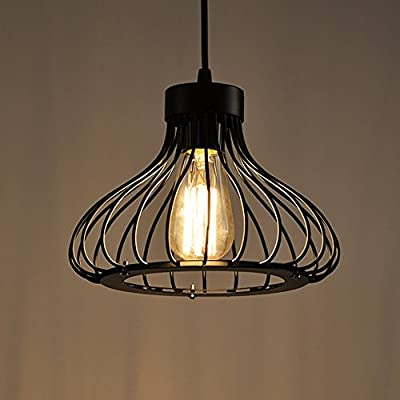 Pendant Light Retro Vintage Ceiling Lighting Fixtures Industrial Lamp Shades Metal Shadow Art Deco Loft Modern Wire Black Cage Hanging LED Chandeliers E27 Base for Kitchen Coffee Bar Restaurant