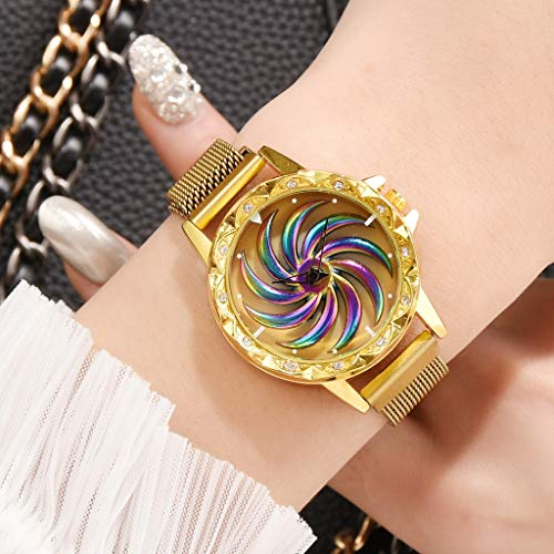 Uhr Armbanduhren Männer Damenuhren Hansee Mode Rotierende Blume Oberfläche Edelstahlgewebe Armbanduhr Damenschmuck Uhren Wrist Watches(Gold)