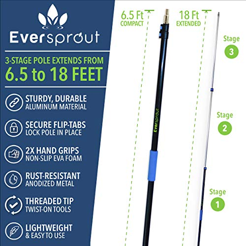 EVERSPROUT 7-to-19 Foot Telescoping Boat Hook | Floats, Scratch-Resistant, Sturdy Design | Durable & Lightweight, 3-Stage Anodized Aluminum Pole | Threaded End for Boating Accessories (19 Feet)