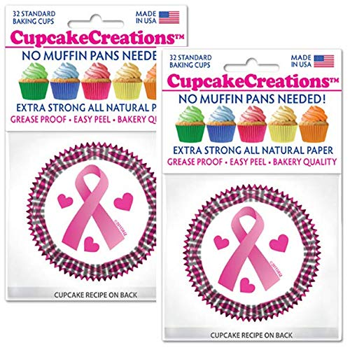 Cupcake Creations Greaseproof Baking Liners for Cupcakes, Muffins, and Snacks - Extra Strong, Bakery Quality, Standard Size - 64 Count (Pink Ribbon)