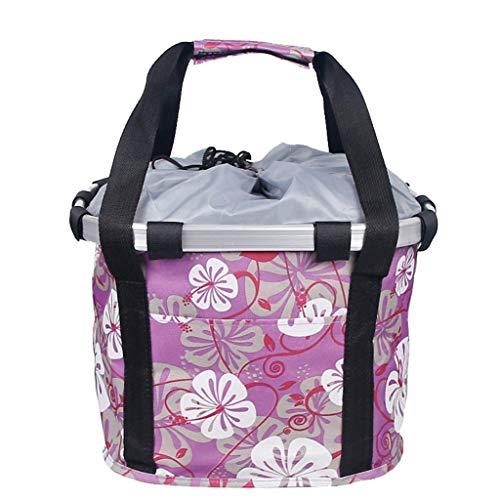 HSKB Fahrradkorb, Lenkerkorb Korb Car Front Bag Hinterradkorb Gepäckträgerkorb aus Weide für Gepäckträger Vorne für Universal Fahrrad Mountain Road Bike Fahrradzubehör (28 × 25 × 22 cm) (Pink)