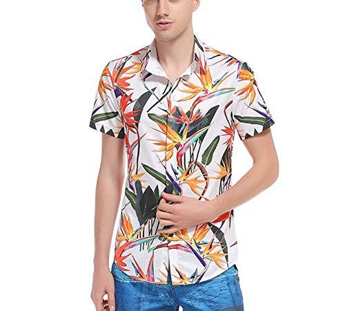 GWLDV Hawaiianische Kurzarmhemden mit 3D-Druck, kurzärmelige Jungenhemden, Strandhemden mit Knöpfen, atmungsaktiv, leicht, für Strandpartys, Urlaubskleidung und Freizeitkleidung geeignet,XXXL