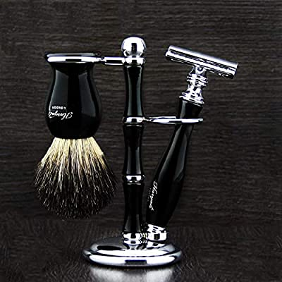 Complete Black Men's Shaving/Grooming Set. This 3 Pcs Set Includes Pure Black Badger Hair Shaving Brush, De Safety Razor(Blades Not Included) & 3 ring Stand Ideal as a Gift To HIM.Comes In a Designer Packing Box.