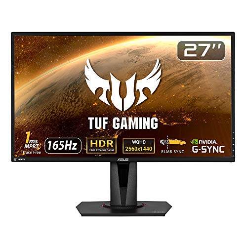 ASUS TUFGaming ゲーミングモニター 27インチWQHD/2560x1440/IPS/HDR10/1ms/165Hz/G-SYNC Compatible/FreeS...