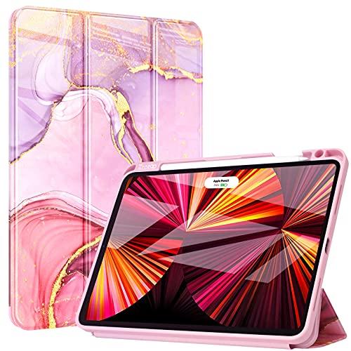 ZtotopCases Custodia per Nuovo iPad Pro 11' 3a Generazione 2021 e iPad Air 4a Generazione 10.9' 2020, Custodia Protettiva Antiurto Cover, con Pencil Holder, Funzione Sleep/Wake Automatica, Marmo Rosa