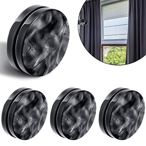Magnetisch Vorhang Gewichte Runde Magnet Duschvorhang Vorhänge Gewichte Fenstervorhang Tischdecke Anhänger Gewichte zum Blasen zu Stoppen, Schwarz (4)