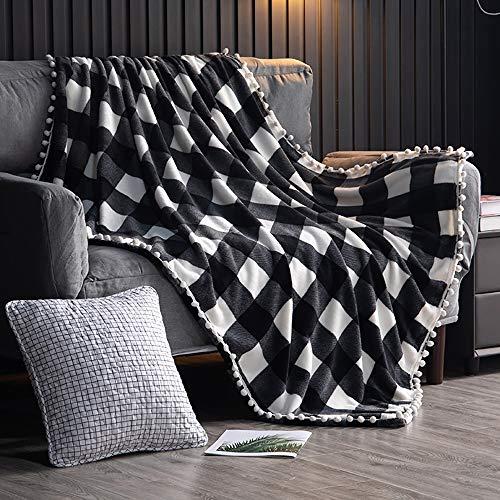 TEALP Manta Polar con Flecos de Pompones   Manta de Franela a Cuadros Blanco y Negro Buffalo Plaid para el sofá Cama Apta para Toda la Temporada (150x 200 cm)