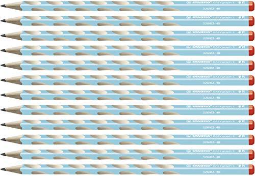 Matita Ergonomica triangolare Sottile - STABILO EASYgraph S per Destrimani in Azzurro - Confezione da 12 - Gradazione HB