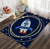 QNYH Estrellas del Cohete del Universo de la Historieta Que Imprimen la Estera del Juego del bebé, área de la cabecera del Dormitorio Alfombra de Gran tamaño, Alfombra de Gateo para niños 80cmx150cm