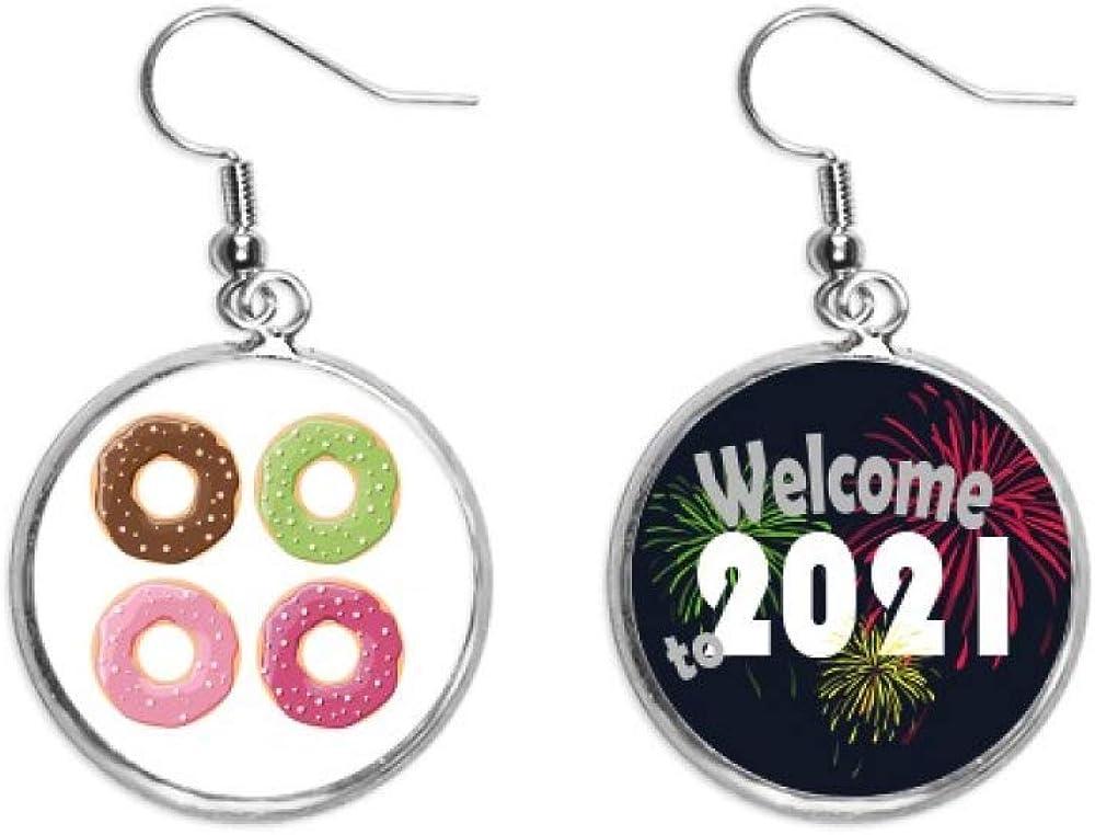 Four Doughnut Time sale Group 2021 model Dessert Pattern Ear Earring Pendants Jewelry