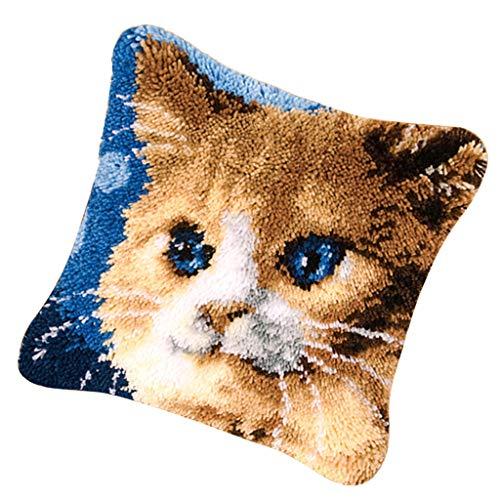 Daily Mall Kit de Ganchos de Gancho para Bricolaje, Funda de cojín para sofá, diseño de Gato con patrón Impreso de 17 x 17 Pulgadas