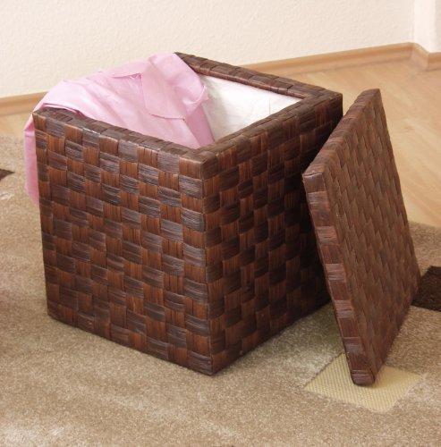 meuble direct online Tabouret-panier à linge, brun - Marron, 45x40x40, jacinthe d'eau