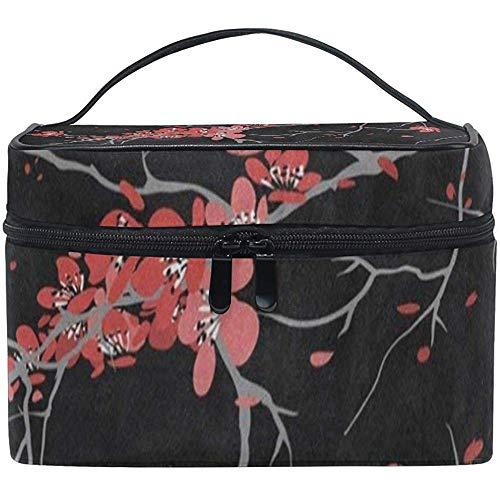 Sac Cosmétique Noir Rouge Fleur De Cerisier Sakura Fleur Femmes Organisateur De Maquillage Filles Trousse De Toilette Boîte Paresseux Zip Sac