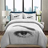Duvet Cover Set Eyelash Soft Lightweight Microfiber 3D Style Illustration of Eye with Dots on White Background Retro Haltone Effect Decorative 3 Piece Bedding Set with 2 Pillow Shams, Twin Size