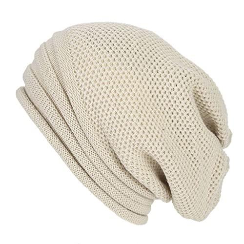 Uniqueheart Sombreros de múltiples Rayas Hombres y Mujeres Sombreros de Pila con Capucha Que preservan el Calor Sombreros de Lana de Punto Hip-Hop - Beige