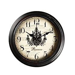 Adeco 14~15 Black Brown Antique-Look Dial Decorative Vintage Retro Traditional Wall Hanging Round Rococo Chandelier Detail, Round Circle Iron Clock,Home Office Decor