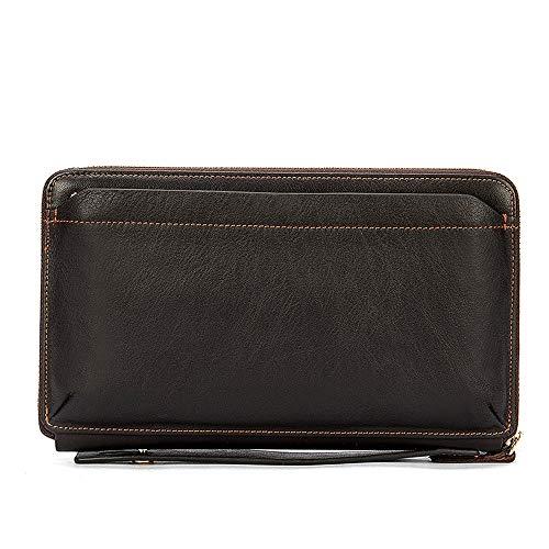 YANG1MN Billetera for Hombre Cartera Monedero De Cuero Largo Bolso Bolso Sección Transversal Cuadrado Gran Capacidad Espacio Retro (Color : Brown)