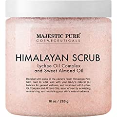 A MAJESTIC BODY SCRUB – Majestic Pure Himalayan Salt Scrub is formulated with powerful Natural Ingredients including Lychee berry, Sweet Almond Oil, and various Nutrients for their benefits on skin. Lychee Berry Oil has a soft, delicate scent and is ...