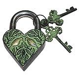 PARIJAT HANDICRAFT Antique Reproduction Heart Padlock with 2 Skeleton Keys Two Love Bird Engraved
