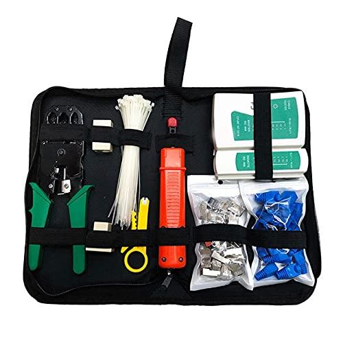 Crdzsw 10 piezas de kit de herramientas de reparación de red / grupo de cable LAN Tester RJ45 Corte de alambre de alambrado Alicates de mantenimiento Bolsa de herramientas para el hogar Kit de herrami