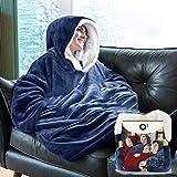 Plaid con maniche in pile da adulto - Coperta con maniche e cappuccio | Morbido - Grande - Per uomo e donna | Perfetto per le notti invernali sul divano | Colore Blu Navy