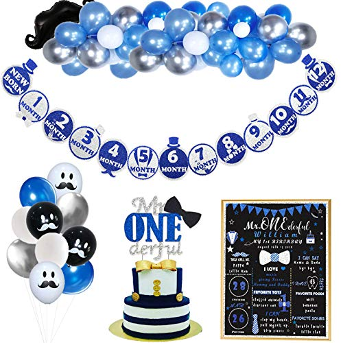 Party Inspo Mr Onederful 1st Birthday Decorations Kit, Mr Onderful Dapper Themed Cake Topper, Mr Onderful Blue and Silver Photo Banner, First Birthday Sign, Mr Onederful Blue & Silver Balloons Garland for Little Man Baby Shower Baby Boy First Birthday Party Supplies.