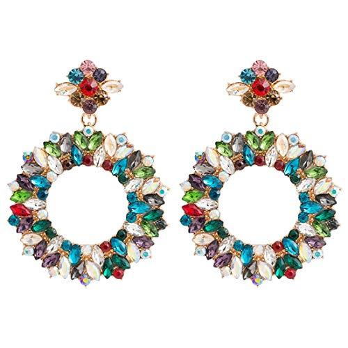 RedAlphabet Mistletoe Stud Earrings Women Multi-Layer Colorful Ring Rhinestone Christmas Shining Accessories