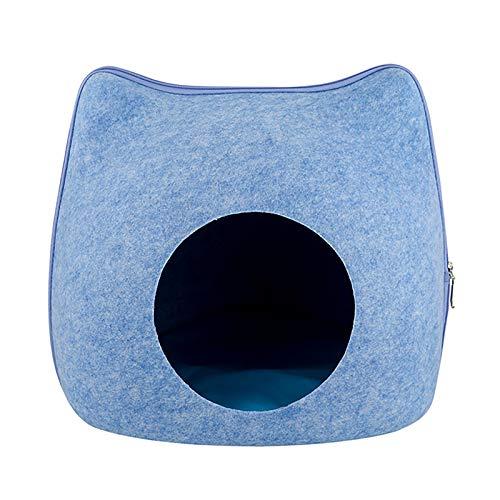 Hmpet Cueva de Gato de Fieltro,Retiro Plegable y Cama para Gatos Cesta para casa de Gatos Que Incluye una Almohada Ovalada Estable para Cueva de Gatos Lavable para Gatos y Perros pequeños,Azul