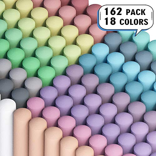 Sidewalk Chalk, Feela 162 Pack 18 Colors Sidewalk Chalk Set For Kids Jumbo Chalk Bulk, Great for Kids Adults Family, Paint on Sidewalk Wall School Driveway Blackboard Street Playground