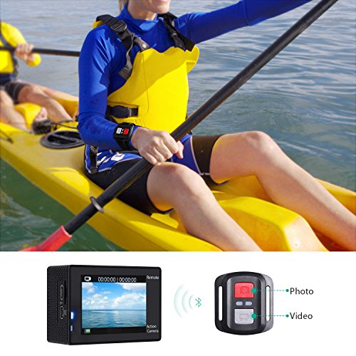 AUKEY Action Camera, 4K Ultra HD Waterproof Underwater Sports Camera with 170 Degree Wide-Angle Lens, WiFi Phone Connection and 2.4GHz Remote