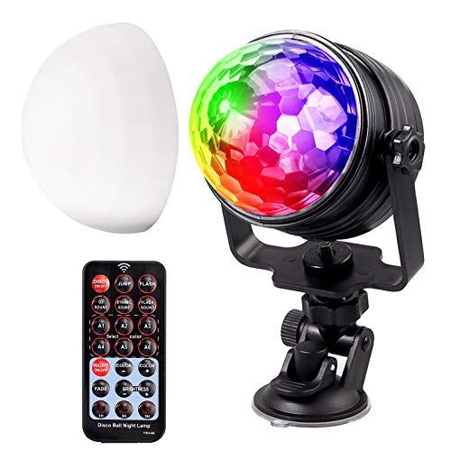 Luce Discoteca LED 7 Colori RGB con Telecomando Lampada Rotativa per Disco Club Party DJ con 4.25M Cavo USB e Ventosa Palla da Palco Musica Attivata per Festa Natale Xmas Decorazione