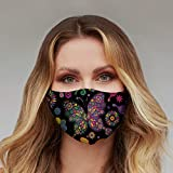 Washable Face Mask with Adjustable Ear Loops & Nose Wire - 3 Layers, Made in USA (Black Butterfly Floral)
