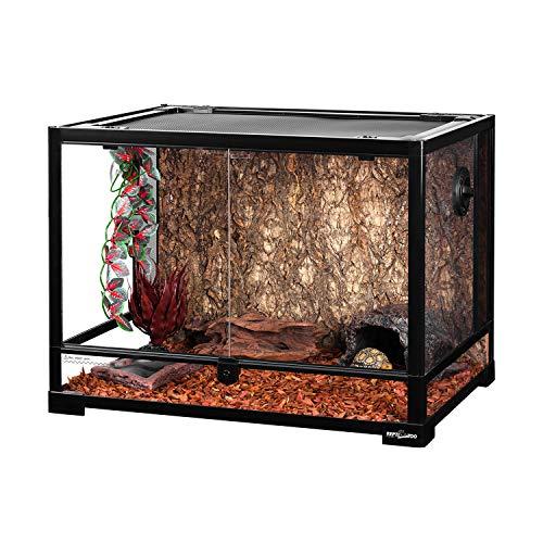 REPTI ZOO Large 34 Gallon Reptile Glass Terrarium Tank,Front Opening Door 24' x 18' x 18' Double Hinge Door with Screen Ventilation Reptile Terrarium (Backgrounds not Include)