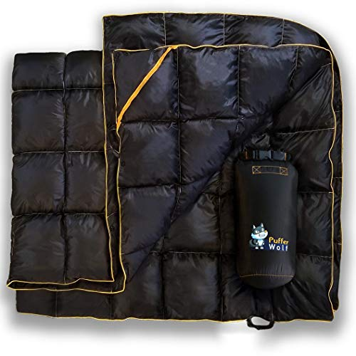 PUFFER WOLF | Extra Large Double Insulated Outdoor Camping Blanket | 2X Puffy, Warm, Packable, Weatherproof, Durable, and Lightweight | Top Quilt for Hiking, Backpacking, Stadium Events, Picnic Use