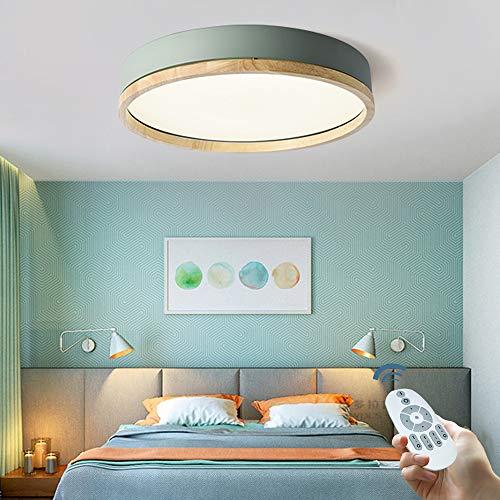 LED Deckenlampe Dimmbar Runde Holzdecke Lampe Wohnzimmer Lampe Esszimmer Deckenleuchte Moderne Schlafzimmer Küche Badezimmer Studie Beleuchtung Massivholz Innen Deckenbeleuchtung Deckenspot,Grün,40cm