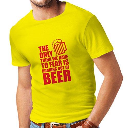 lepni.me Camisetas Hombre Tener Miedo de no Tener una Cerveza - para la Fiesta, Bebiendo Camisetas (XX-Large Amarillo Rojo)