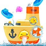 Juguetes Baño Bebe Juguetes Bañera 1+ Años Juegos de Agua Barco de Pato con Burbuja de Ducha 2 Botes Apilables Cascada Juego de Piscina Regalos para Niños Niñas Bebés 6 a 12 Meses